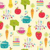 Kids food menu background vector illustration Stock Photo