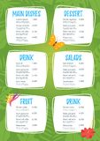 Kids food menu design template. On green jungle rainforest background stock illustration