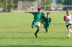 Kids football match Stock Photos