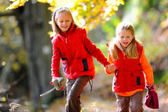 Kids in Forest Stock Images