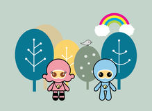 Kids in Forest. Cute Cartoon style kids in the forest Stock Photos