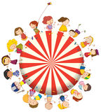Kids forming a big circle. Illustration of the kids forming a big circle on a white background Stock Photos