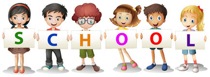 Kids forming the school letters Royalty Free Stock Image
