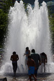 Kids in Fountain Stock Photo