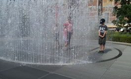 Kids at fountain garden Rijksmuseum Royalty Free Stock Photography