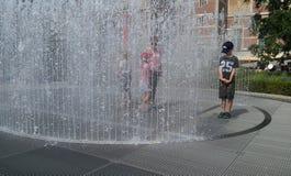 Kids at fountain garden Rijksmuseum Royalty Free Stock Photography
