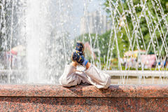 Kids and fountain Royalty Free Stock Image