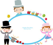 Kids and frame. The illustration can be used as frame Royalty Free Stock Photo