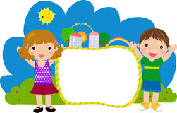 Kids and frame Royalty Free Stock Photography