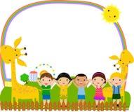 Kids and frame stock illustration