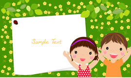 Kids and frame. Illustration art Royalty Free Stock Photography
