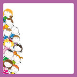 Kids frame. Small and smile colorful kids with banner Royalty Free Stock Photography