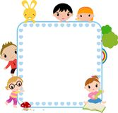 Kids and frame Stock Images