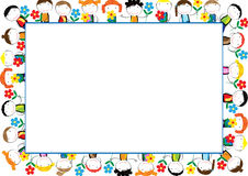 Kids frame. Colorful frame with happy girls and boys Stock Photos