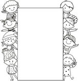 Kids and frame Royalty Free Stock Image