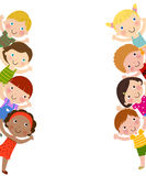 Kids and frame. Illustration of cute happy kids and frame Royalty Free Stock Photography