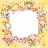 Kids Frame with Sweets and Balloons. Square frame with five happy kids, sweets and balloons Stock Photo
