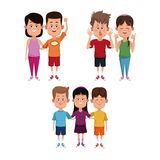 Kids friends cartoon. Icon vector illustration graphic design Stock Images