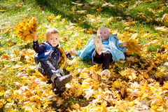 Kids frolicking in yellow autumn leaves. High angle view of two young kids frolicking in yellow autumn leaves that have fallen onto the grass Royalty Free Stock Photos