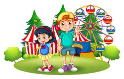 Kids in front of the carnival Royalty Free Stock Images