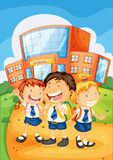 Kids in front of school Royalty Free Stock Images