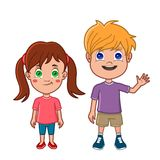 Kids front view. Boy and girl standing together Stock Photography