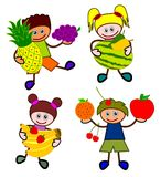 Kids with fruits Stock Images