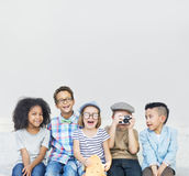 Kids Fun Children Playful Happiness Retro Togetherness Concept Stock Image