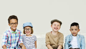 Kids Fun Children Playful Happiness Retro Togetherness Concept Stock Images