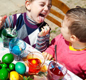 Kids fun Easter eggs Stock Photos