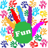 Kids Fun Means Vibrant Handprints And Human Royalty Free Stock Images