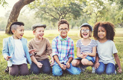 Kids Fun Playful Happiness Retro Togetherness Friendship Concept Stock Images