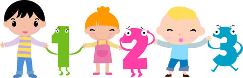 Kids and funny number. Illustration art Stock Photo