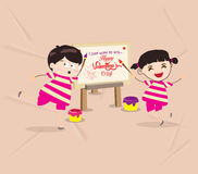 kids funny painting Valentines greeting card Royalty Free Stock Image