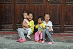 Kids in Furong (Hibiscus) ancient village Royalty Free Stock Photo