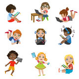 Kids With Gadgets Set. Of Bright Color Isolated Vector Drawings In Simple Cartoon Design On White Background Royalty Free Stock Image