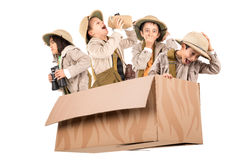 Kids in a game drive. Children in a cardboard box playing Safari Stock Photography