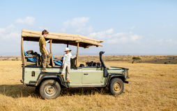 Kids on game drive stock photos