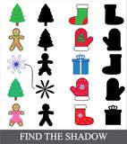 Kids game. Find the shadow. Christmas new year icons, vector. Kids game. Find the shadow. Christmas new year icons, vector Royalty Free Stock Image