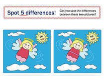 Kids game: spot 5 differences!. A famous game for kids: Spot 5 differences! Can you spot the differences between these two pictures Royalty Free Stock Photo