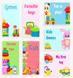 Kids Games and Favorite Toys Illustrations Set. Kids games and favorite toys vector illustrations with plastic cookware, soft animals, small cars, colorful Stock Photos