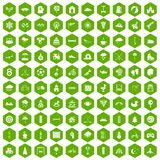 100 kids games icons hexagon green. 100 kids games icons set in green hexagon isolated vector illustration Stock Photo