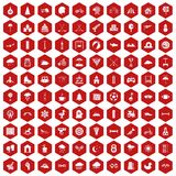 100 kids games icons hexagon red. 100 kids games icons set in red hexagon isolated vector illustration Stock Image