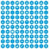 100 kids games icons set blue. 100 kids games icons set in blue hexagon isolated vector illustration royalty free illustration