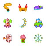 Kids games icons set, cartoon style Stock Images