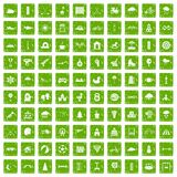 100 kids games icons set grunge green. 100 kids games icons set in grunge style green color isolated on white background vector illustration Royalty Free Stock Photos