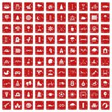 100 kids games icons set grunge red. 100 kids games icons set in grunge style red color isolated on white background vector illustration Stock Image