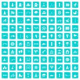 100 kids games icons set grunge blue. 100 kids games icons set in grunge style blue color isolated on white background vector illustration Royalty Free Stock Photo