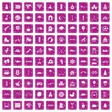100 kids games icons set grunge pink. 100 kids games icons set in grunge style pink color isolated on white background vector illustration Royalty Free Illustration
