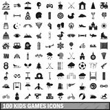 100 kids games icons set, simple style. 100 kids games icons set in simple style for any design vector illustration vector illustration